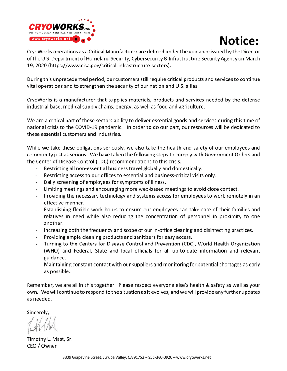 lightbox CryoWorks Letter of Essential Business