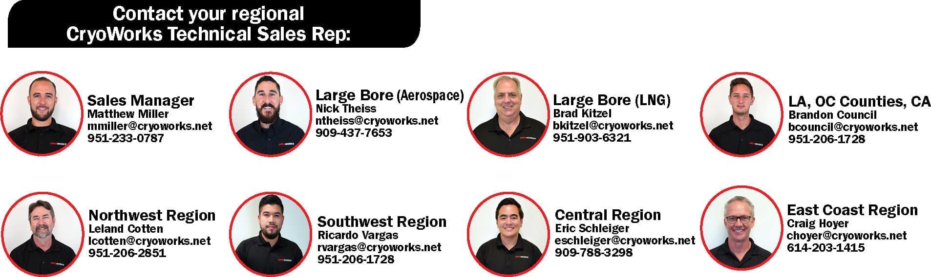 CryoWorks Technical Sales Rep Team Members