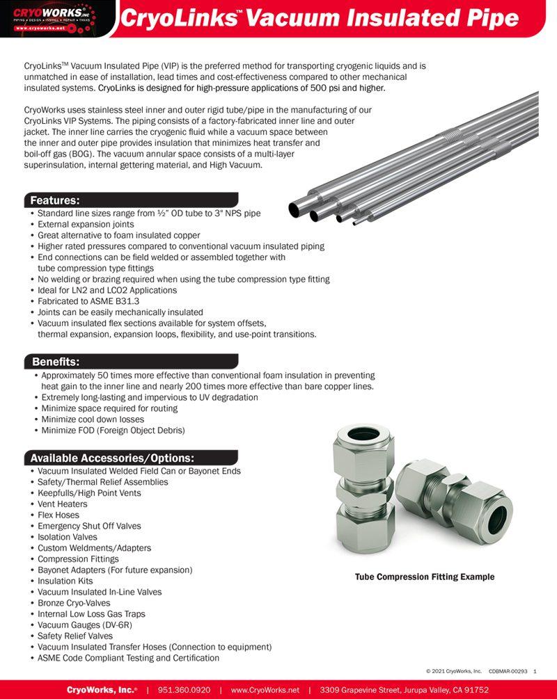 CryoLinks Vacuum Insulated Pipe