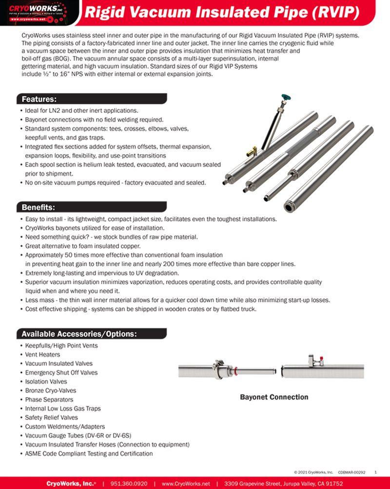 Rigid Vacuum Insulated Piping